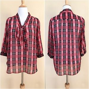 Dorothy Perkins Tops - Dorothy Perkins Red Black White Plaid Pussybow Top