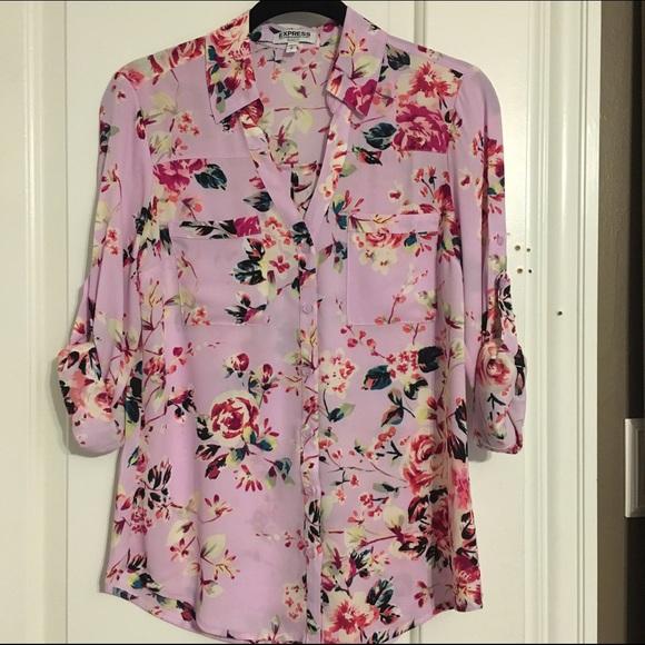 Express - EXPRESS Pink Floral Portofino Shirt from Rubi's closet ...