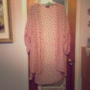 *Kimono* Floral Glitter Chiffon Cardigan, Pink S