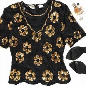 Vintage Black & Gold Floral Sequin Blouse