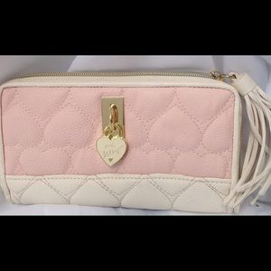 Betsey Johnson Pink heart quilted zippered wallet.