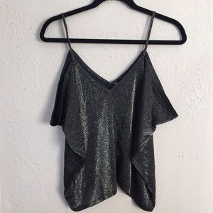 Charlotte Russe Tops - Charlotte Russe Black & Gold Metallic Draped Top