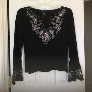 Bell sleeve Embroidered Black and Pink INC Top.