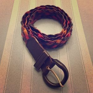 Accessories - Leather Braided Belt Multi-Colored