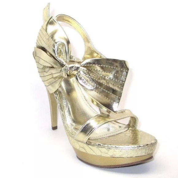 43% off Anne Michelle Shoes - NEW Shiny Gold Faux Snakeskin w/ Big ...