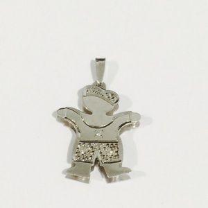 Jewelry - 14k White Gold Baby Boy Charm With Four Diamonds