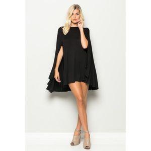 Mini Cape Dress-BLACK