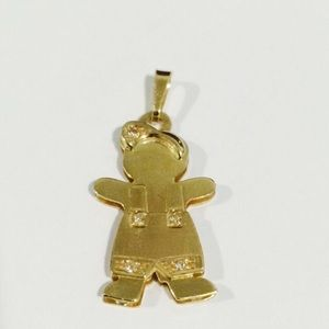 Jewelry - 14k Gold Double Plated Baby Boy Charm W/Diamonds
