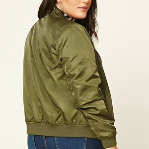 846eee90a6 Forever 21 Jackets   Coats - Army Green Plus Size Bomber Jacket