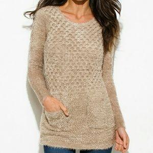 C-Mode Sweaters - Last 1! Mocha textured soft sweater, 2 pockets