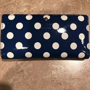 Kate Spade - Blue and White Polka Dot Stacy Wallet
