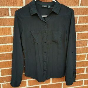 a.n.a. black flowy dress shirt