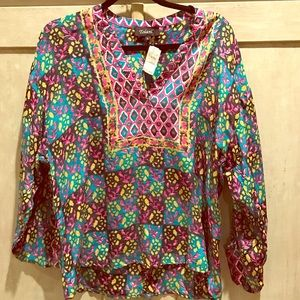 Tolani Tops - Colorful Silk Blouse NWT
