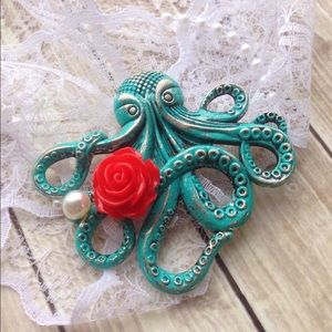 Abbie's Anchor Jewelry - Vintage inspired patina octopus brooch