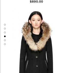 mackage wool coat with fur trim hood
