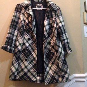 Jackets & Blazers - Plaid trench jacket