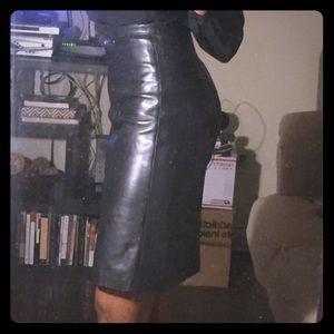 Soft. Black. Leather. Pencil. Skirt.