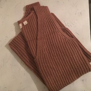 Caramel-colored sleeveless anthropologie sweater