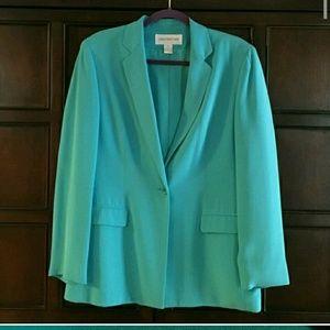 Jones New York teal blue blazer 100% silk