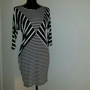 MSK Dresses & Skirts - Black and White Striped Bodycon Dress