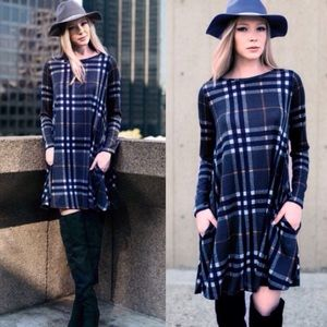 ❣️LAST❣️ Plaid Shift Dress in Olive or Blue