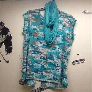 Camo Tops - Camo blouse with scarf NEW