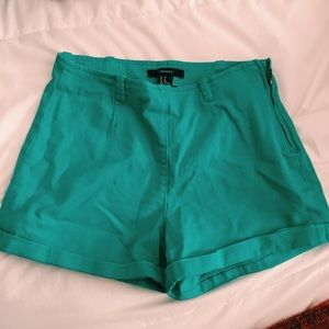 Forever 21 Pants - Forever 21 High Waisted Teal Shorts
