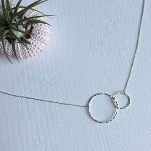 Interlocking Textured Circle Silver Necklace