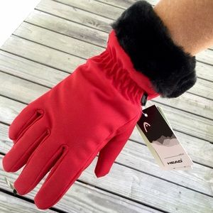Trendy Fur Lined Red Gloves