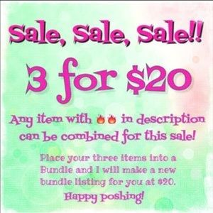 3 for $20 Sale