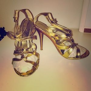 Nordstrom Shoes - Cathy Jean Gold Strappy Heels