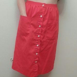 Dresses & Skirts - Vintage Red button up midi skirt