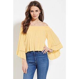 NEW Pastel Yellow Off The Shoulder Top