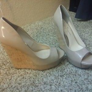 Jessica Simpson nude wedge heels size 8 & 8.5