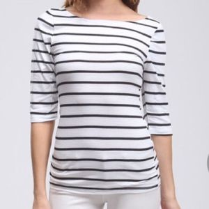 3/4 sleeve stripe shirt black white basic