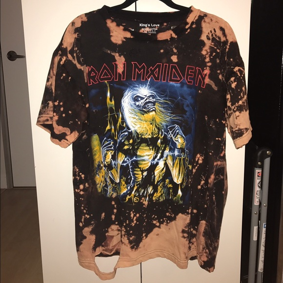 Yeezy iron maiden vintage bleached distressed tee from for How to make a distressed shirt