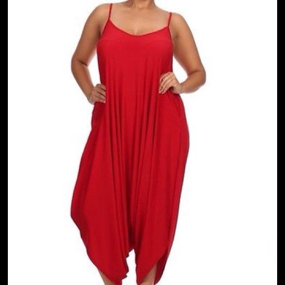 33337c55b7e Plus Size Red Harem Jumpsuit Romper Size 3X ~ NWT