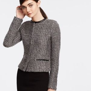 {Ann taylor} sweater jacket with faux leather trim