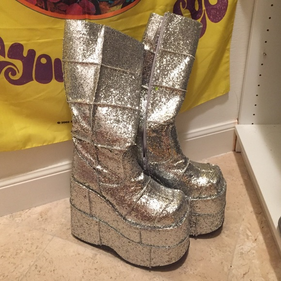 5ee18d8059d demonia Shoes - BRAND NEW silver glitter stack platform gogo boots