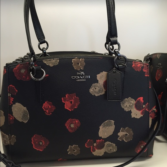 048d6365493a COACH SMALL CHRISTIE CARRYALL IN HALFTONE FLORAL