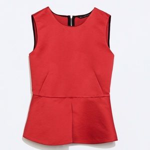 Zara zip back red peplum top. New without tags.