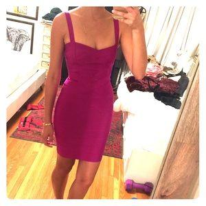 Pink purple bandage pencil dress