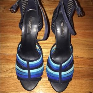 Zara leather shades of blue straps heels!