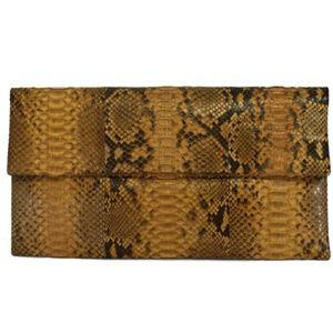 Primary Handbags - Primary- Tan Python Leather Clutch