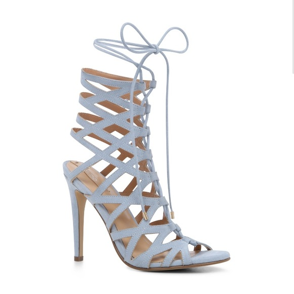 44% off Aldo Shoes - Light Blue Lace Up Strappy Heels from ...