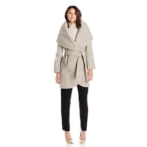 T Tahari Women's Marla Wool Wrap Coat Tweed