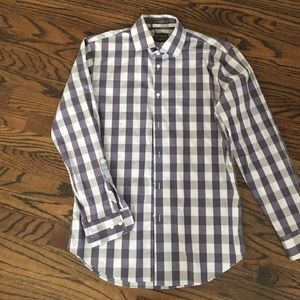 C2 by Calibrate Other - Purple and gray checked men's dress shirt