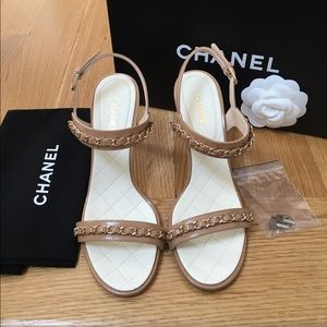 Chanel Crumpled Calfskin Chain Sandals