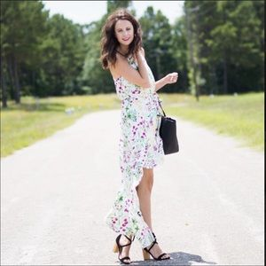 WAYF white floral high low dress