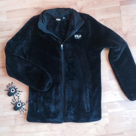 d67b2395 Fila black fuzzy jacket